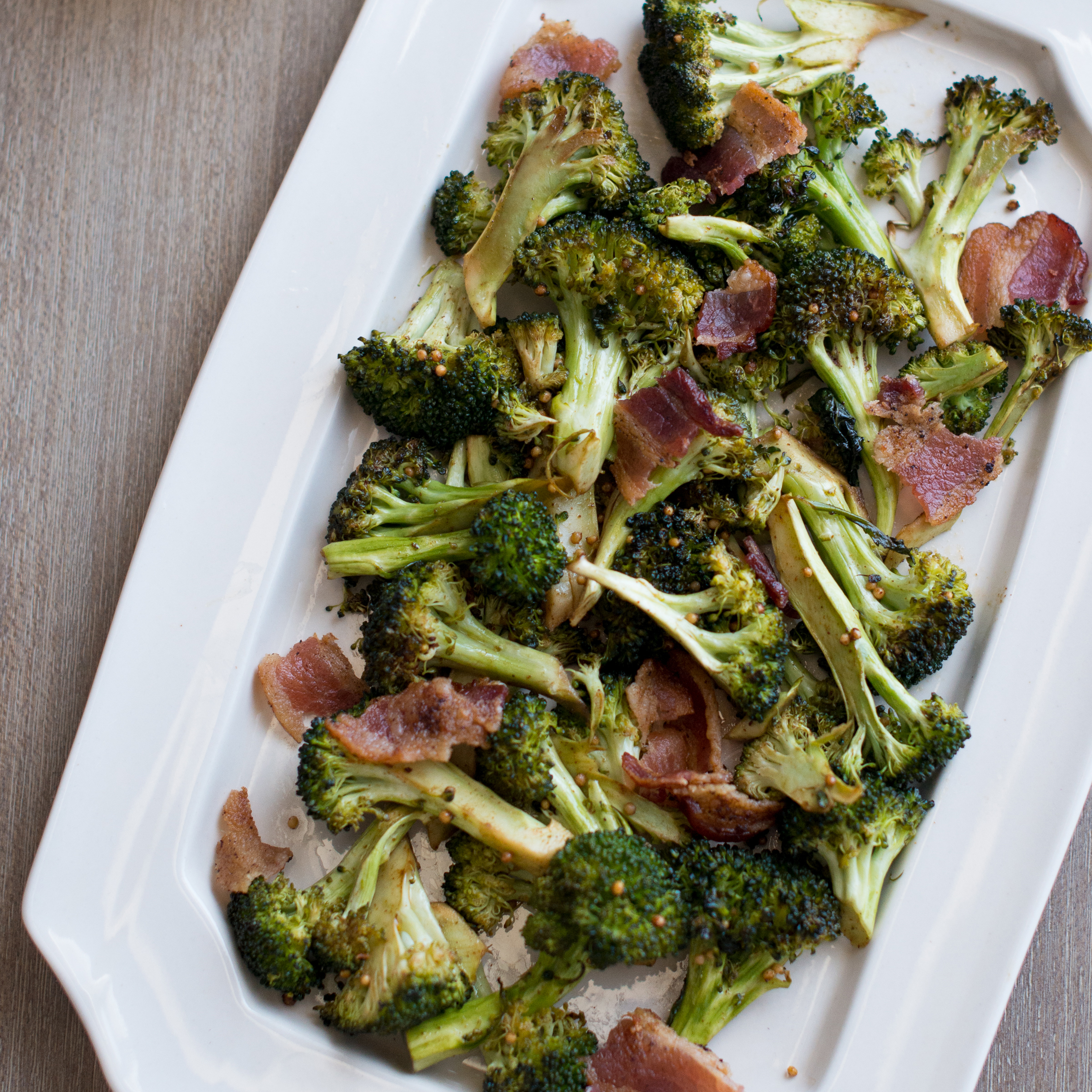 Mustard Roasted Broccoli with Bacon Recipe - Todd Porter and Diane Cu ...