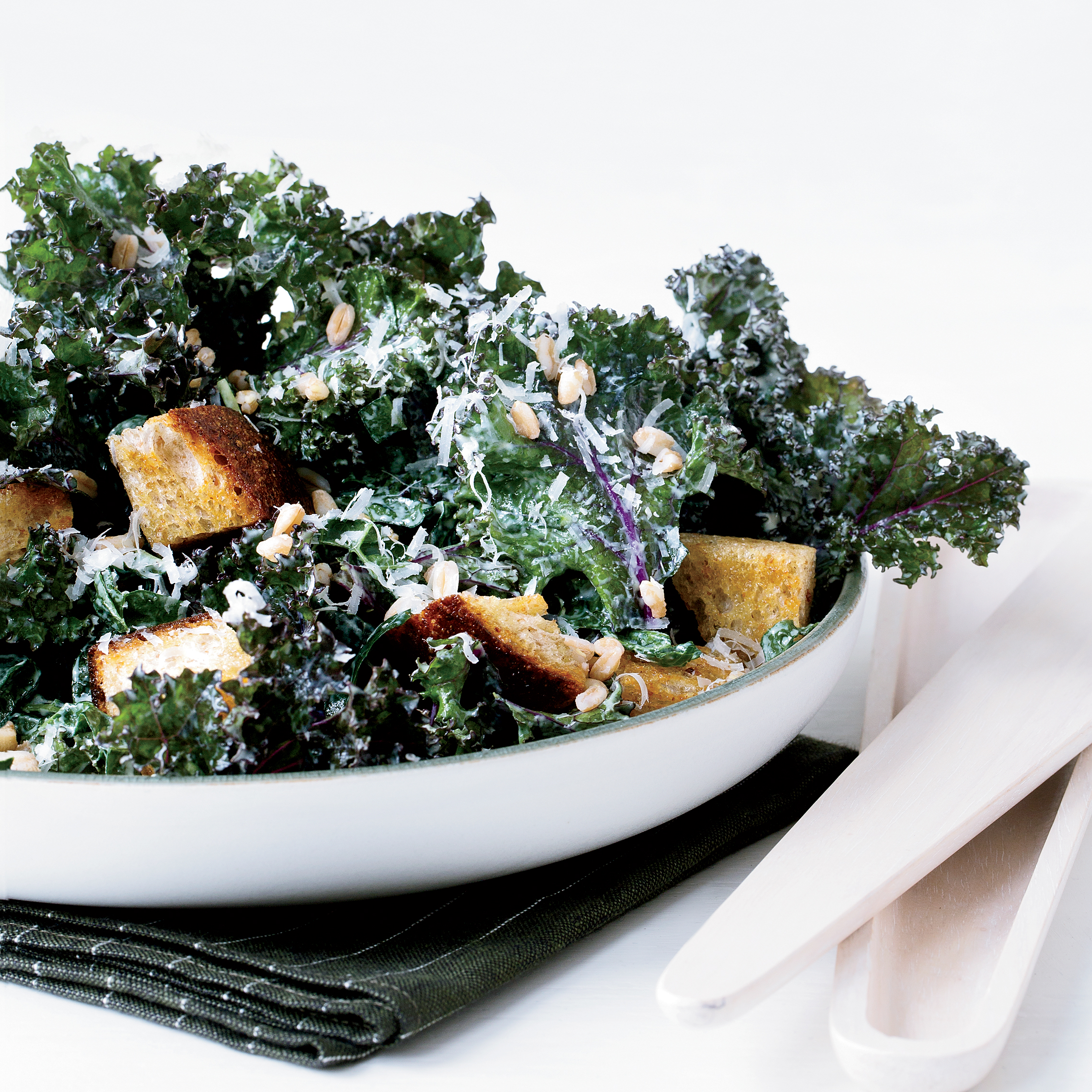 Kale Caesar with Rye Croutons and Farro Recipe - Kay Chun | Food ...