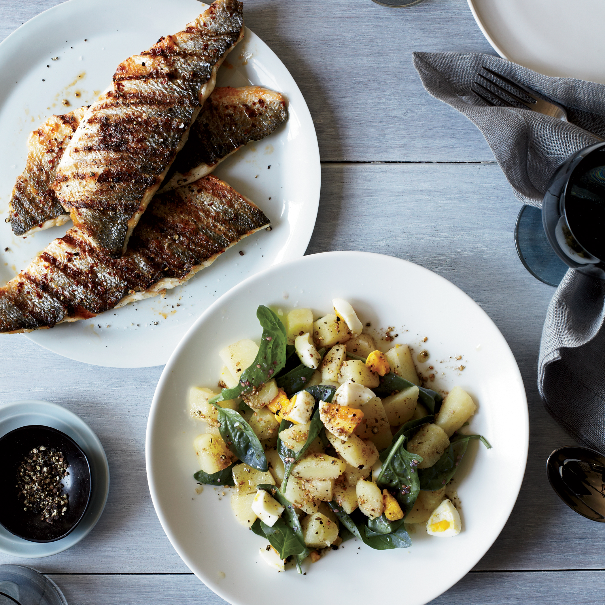 Grilled Branzino Fillets With Potato Amp Spinach Salad