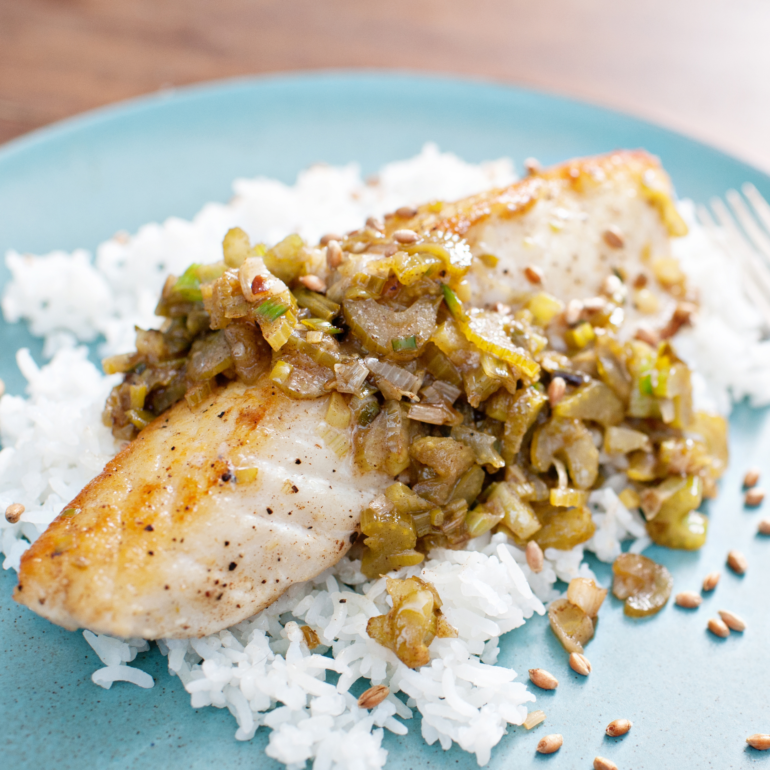 Halibut with brown butter lemon and aged fish sauce for Lemon butter sauce for fish