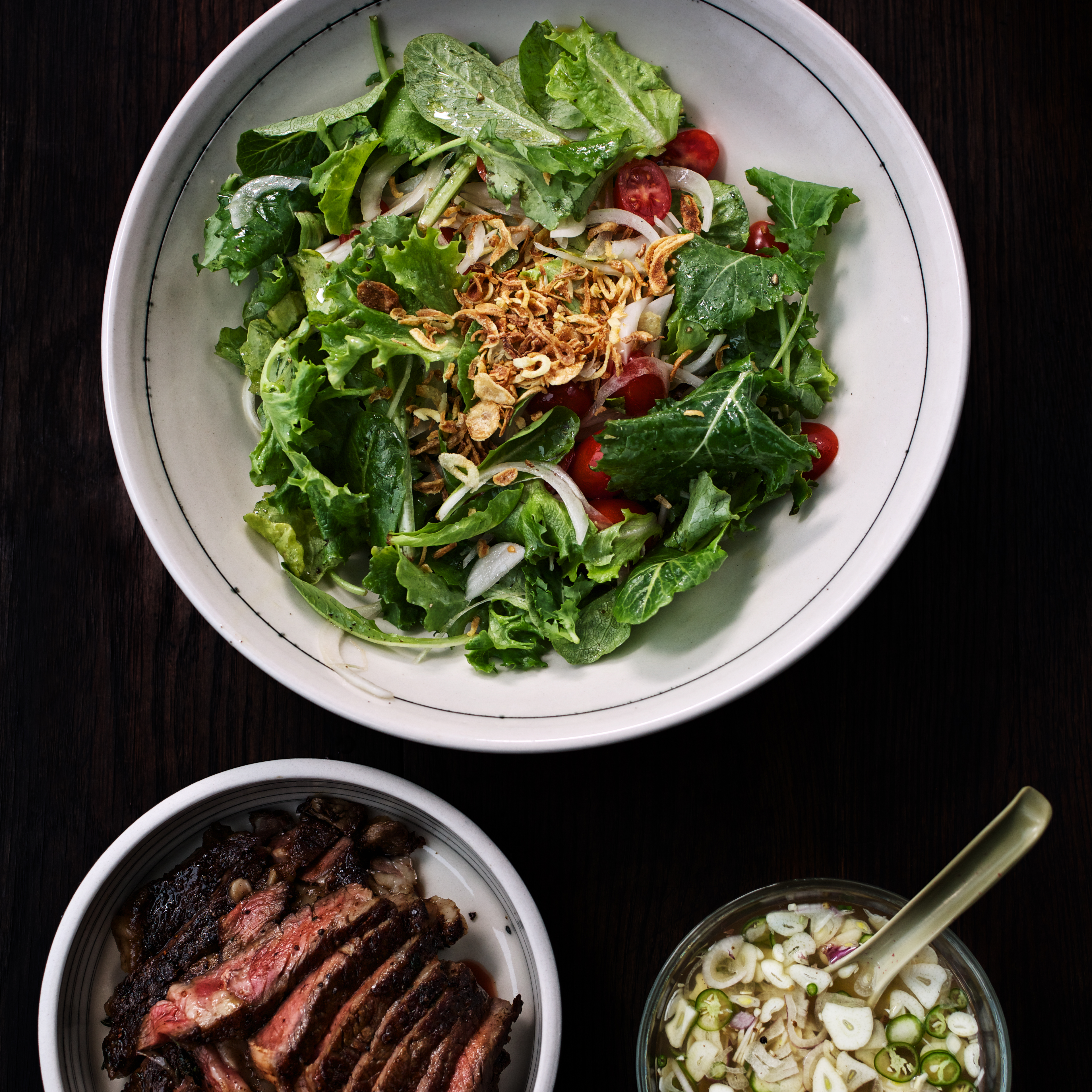 Rib eye steak with onions tomato recipesbnb baby kale and steak salad recipepaul qui food wine forumfinder Images