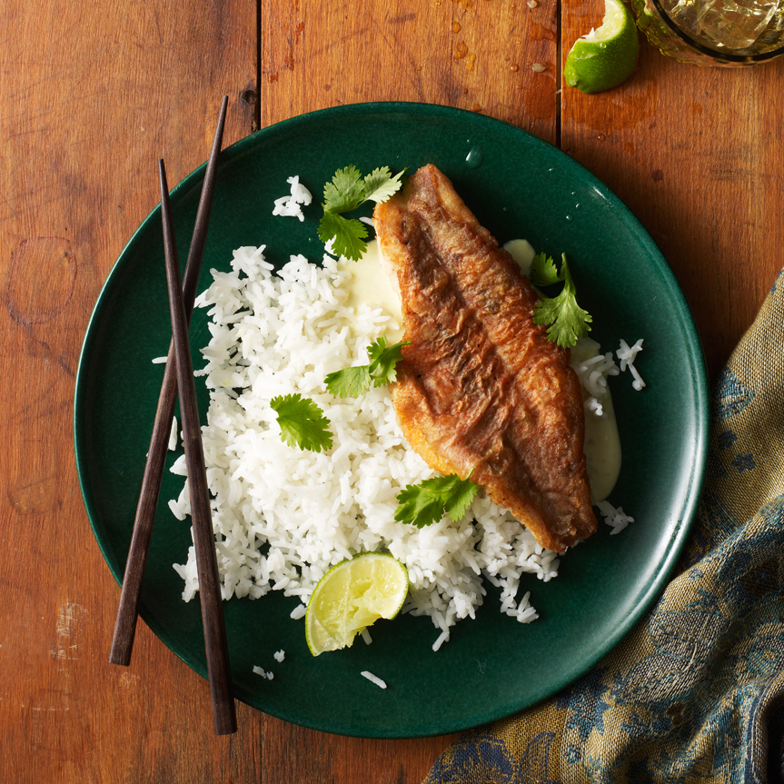 Orange Roughy On Rice With Thai Spiced Coconut Sauce