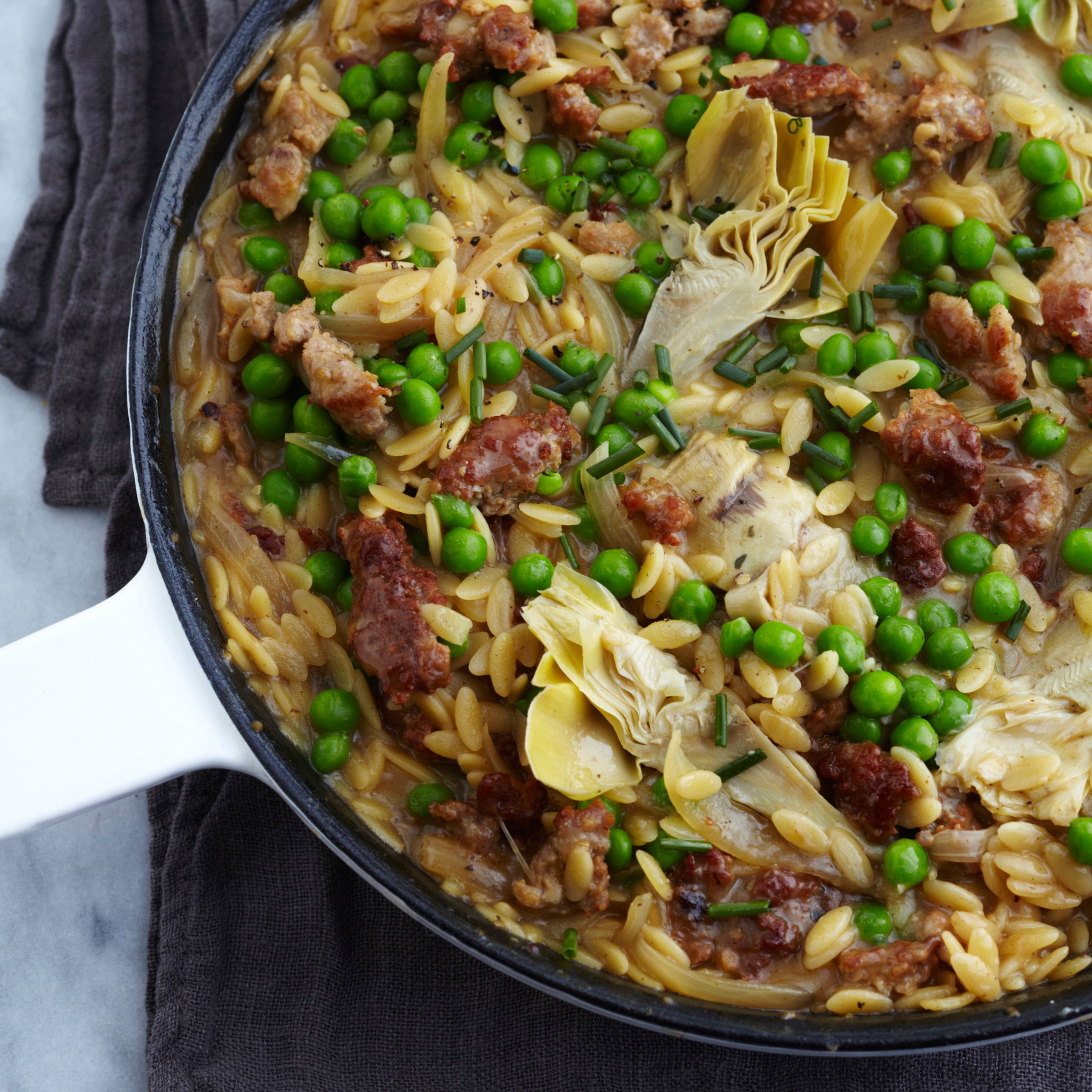 Orzo Risotto with Sausage and Artichokes Recipe - Grace Parisi | Food ...