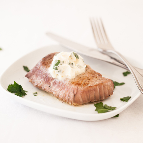 Grilled Tuna with Lemon Anchovy Butter Recipe - Quick From Scratch ...