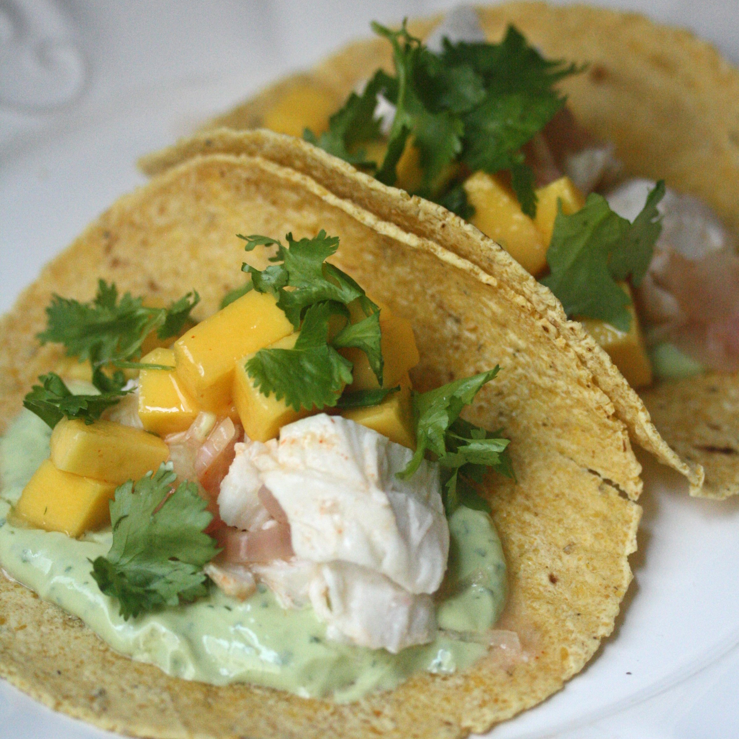 Roasted fish tacos with avocado crema and mango recipe for Best grilled fish taco recipe