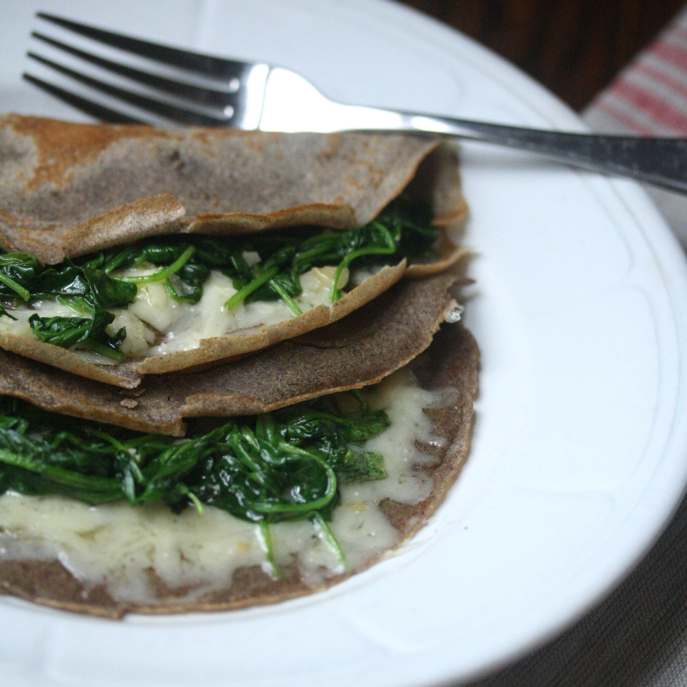 Buckwheat Crêpes with Wilted Arugula and Cheddar Recipe ...
