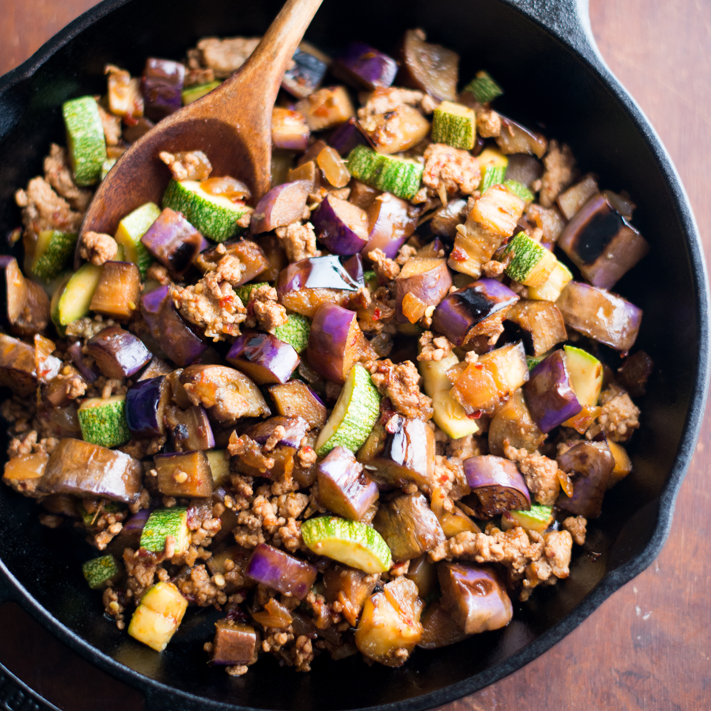Eggplant And Chili Garlic Pork Stir-Fry Recipe