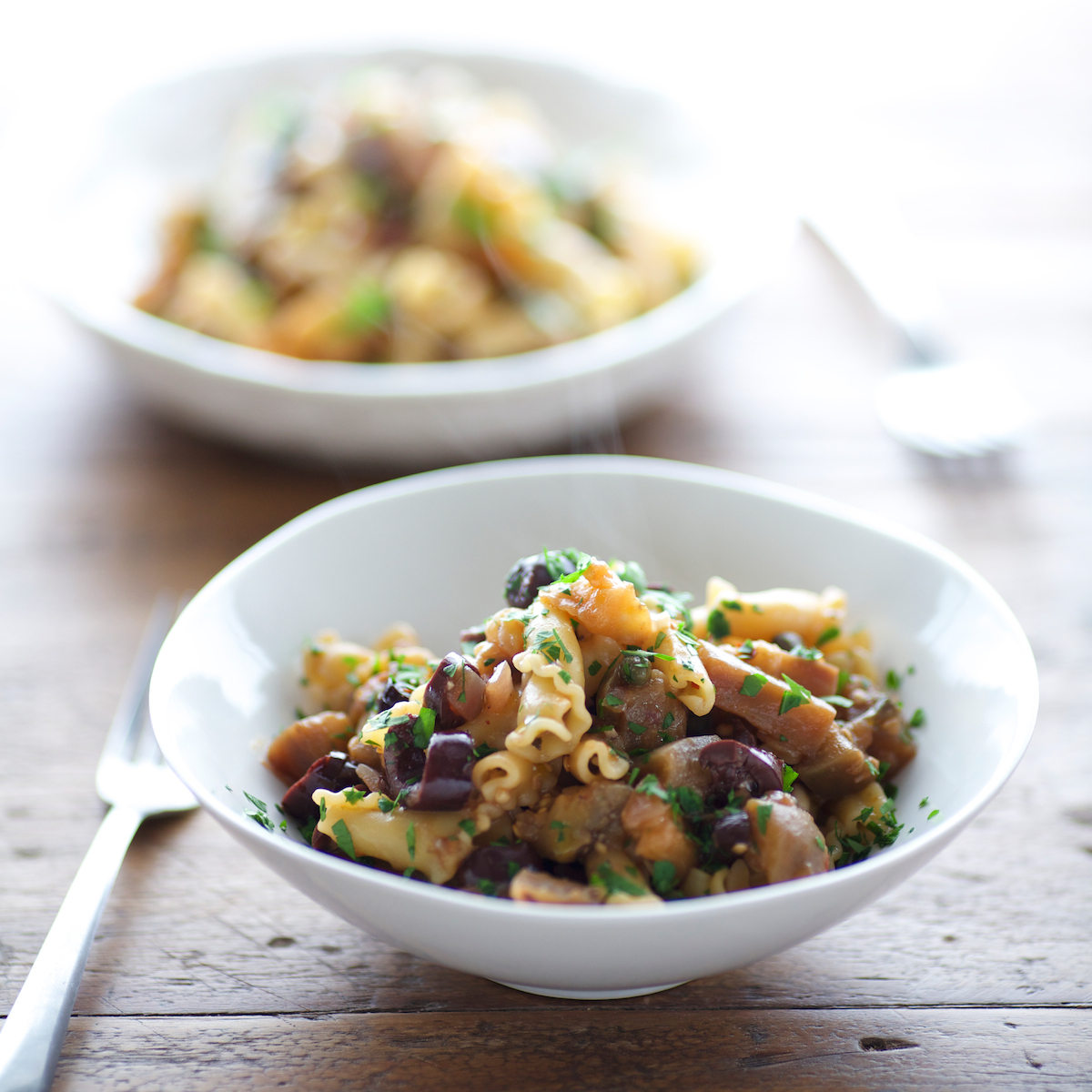 Campanelle with Spicy Eggplant, Olives and Capers Recipe - Kate ...