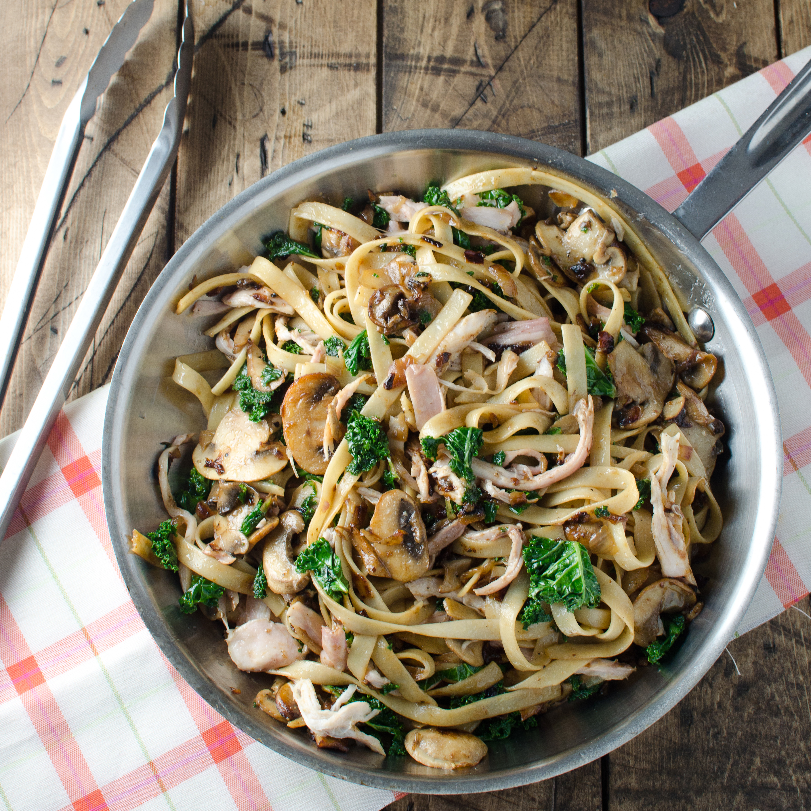 Creamy Chicken Fettuccine with Mushrooms and Kale Recipe - Kristen ...