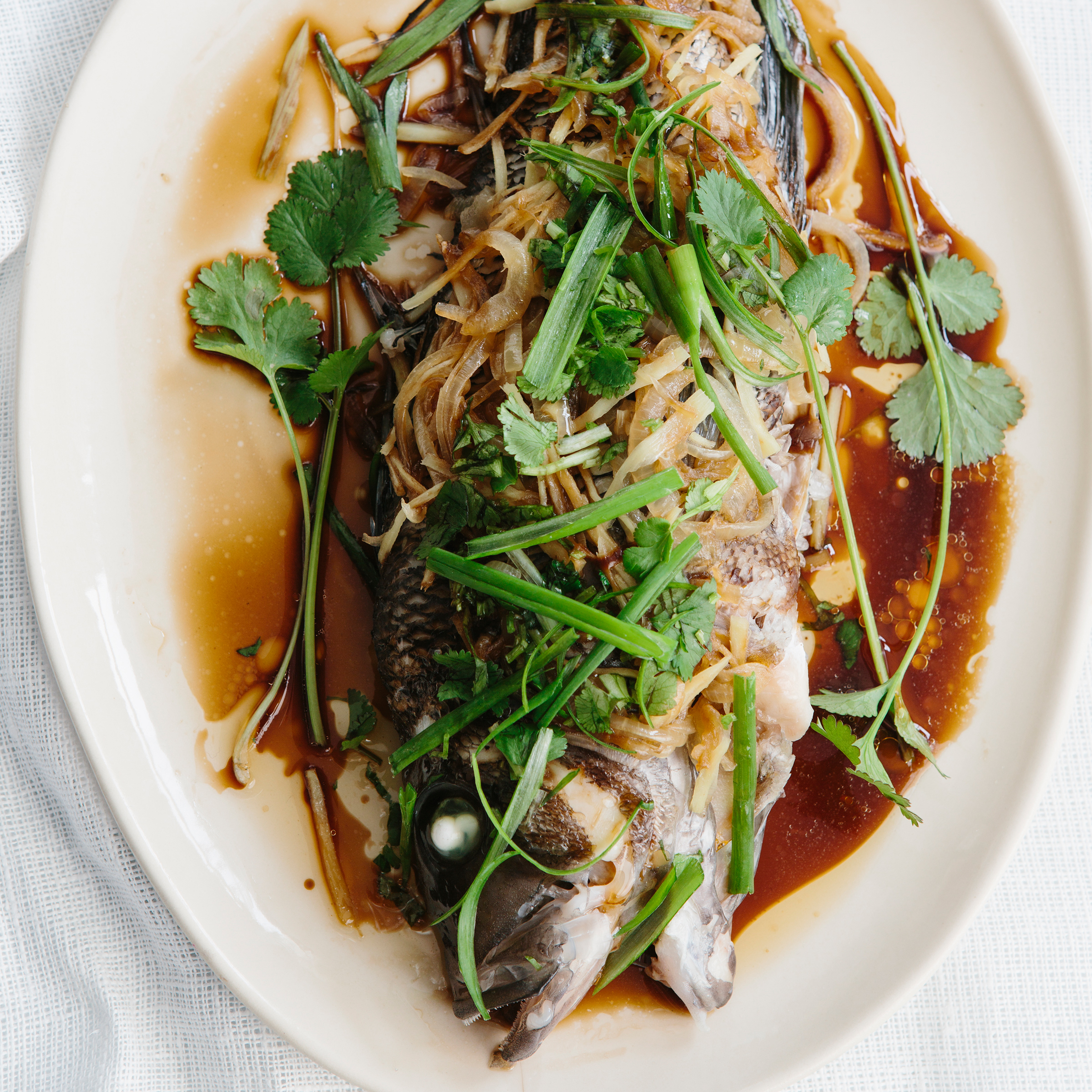Steamed Bass with Onion, Ginger and Scallion Recipe - Jean-Georges ...