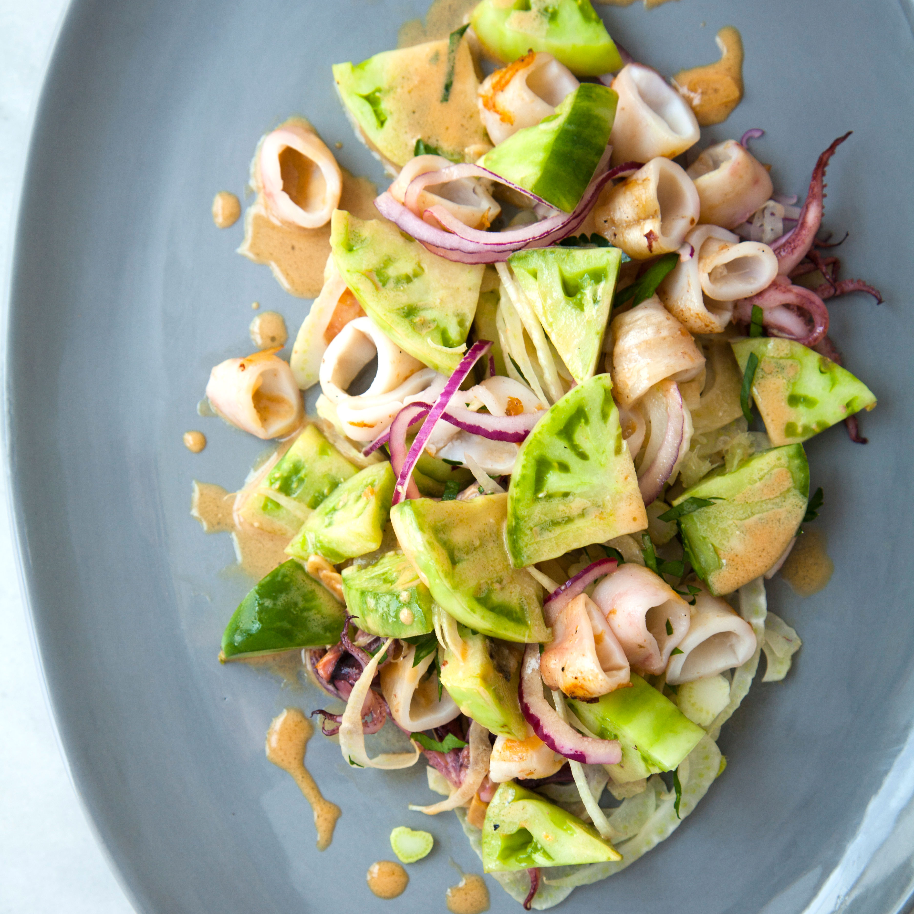 Grilled Squid and Green Tomato Salad with a Sesame-Lime Dressing ...
