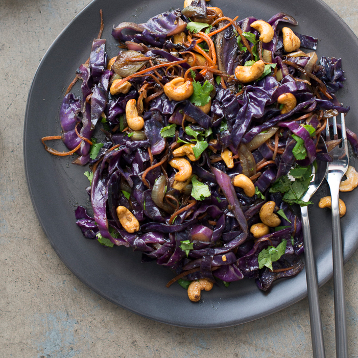 Red Cabbage And Fried Mortadella Okonomiyaki Recipes: Curried Cashew And Red Cabbage Stir-Fry Recipe