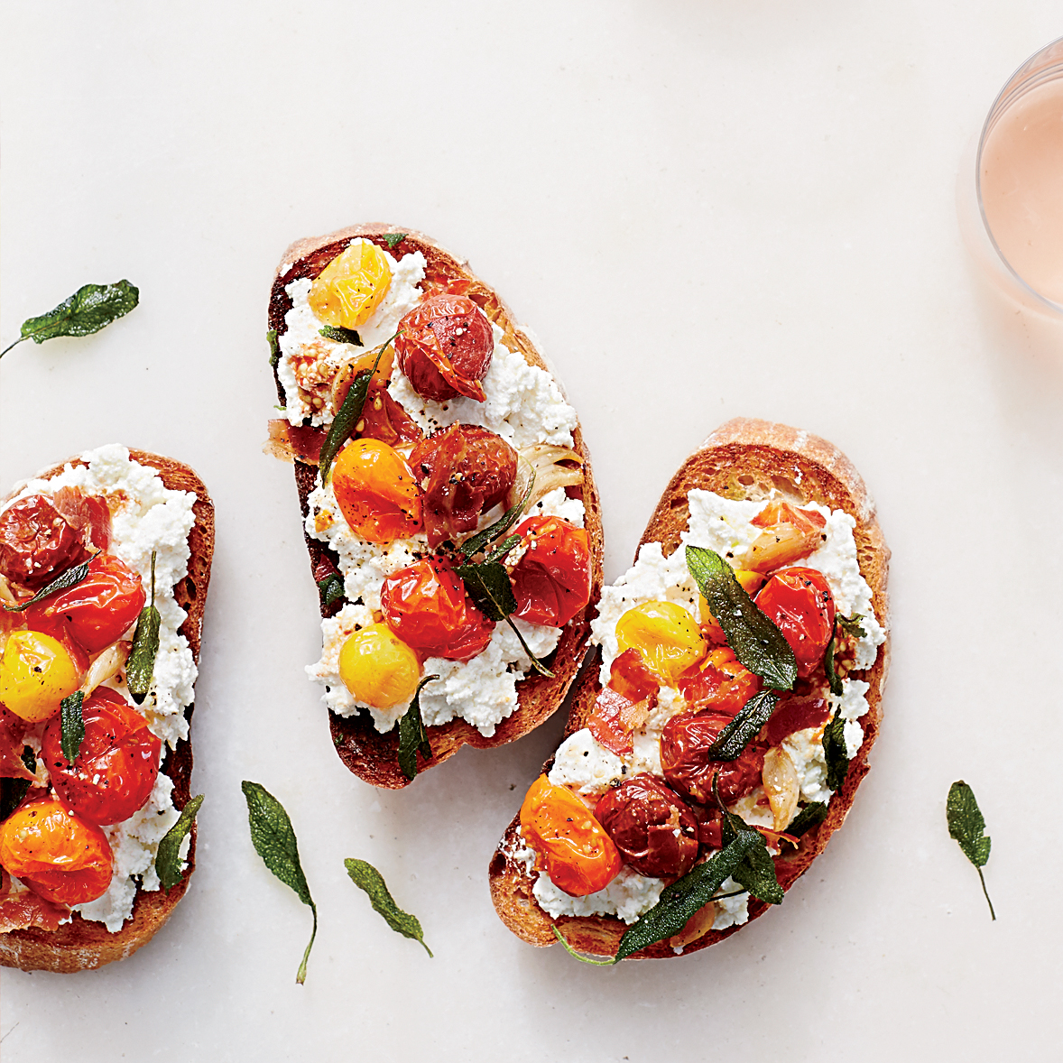 Ricotta and Roasted Tomato Bruschetta with Pancetta Recipe ...