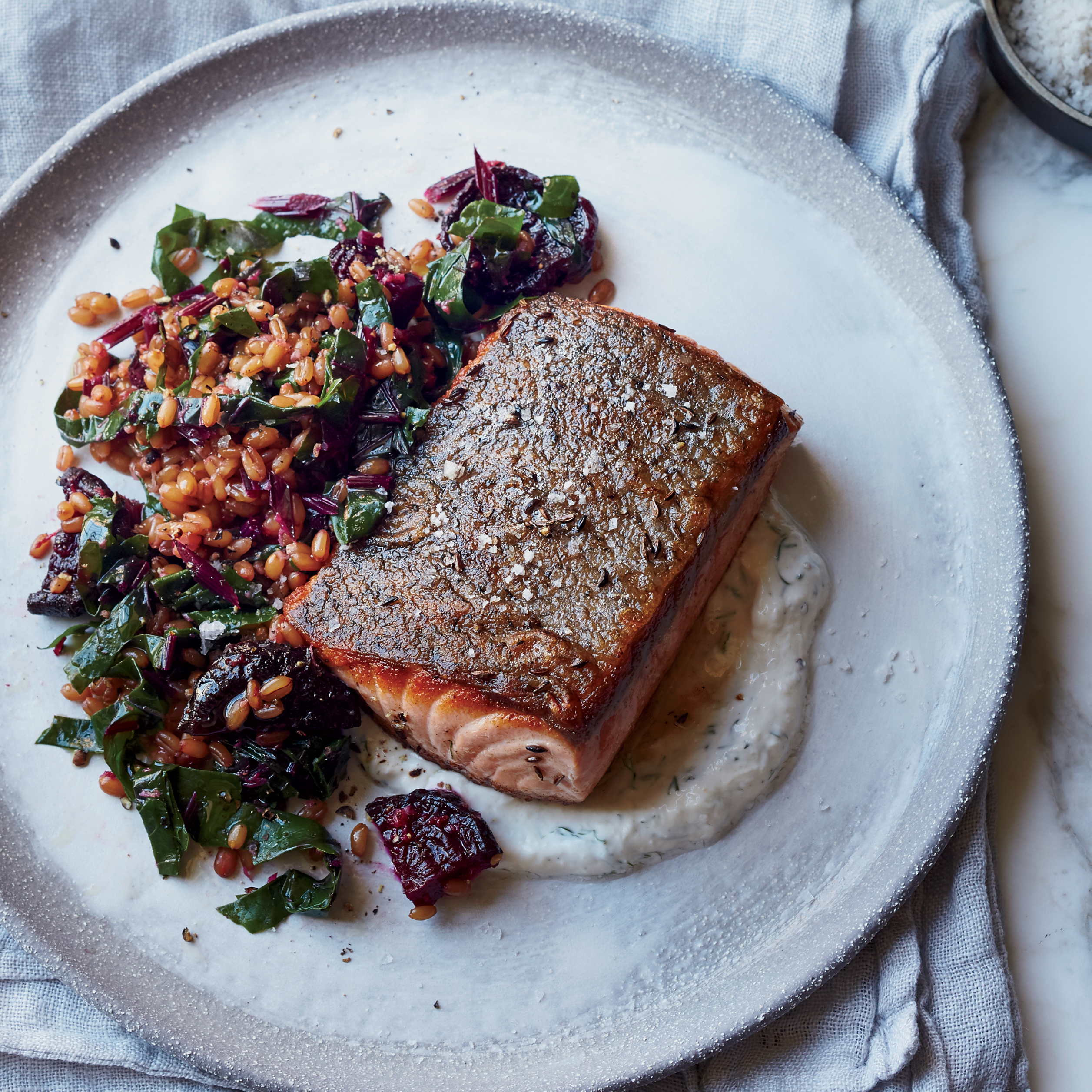 caraway salmon with rye berry and beet salad recipe
