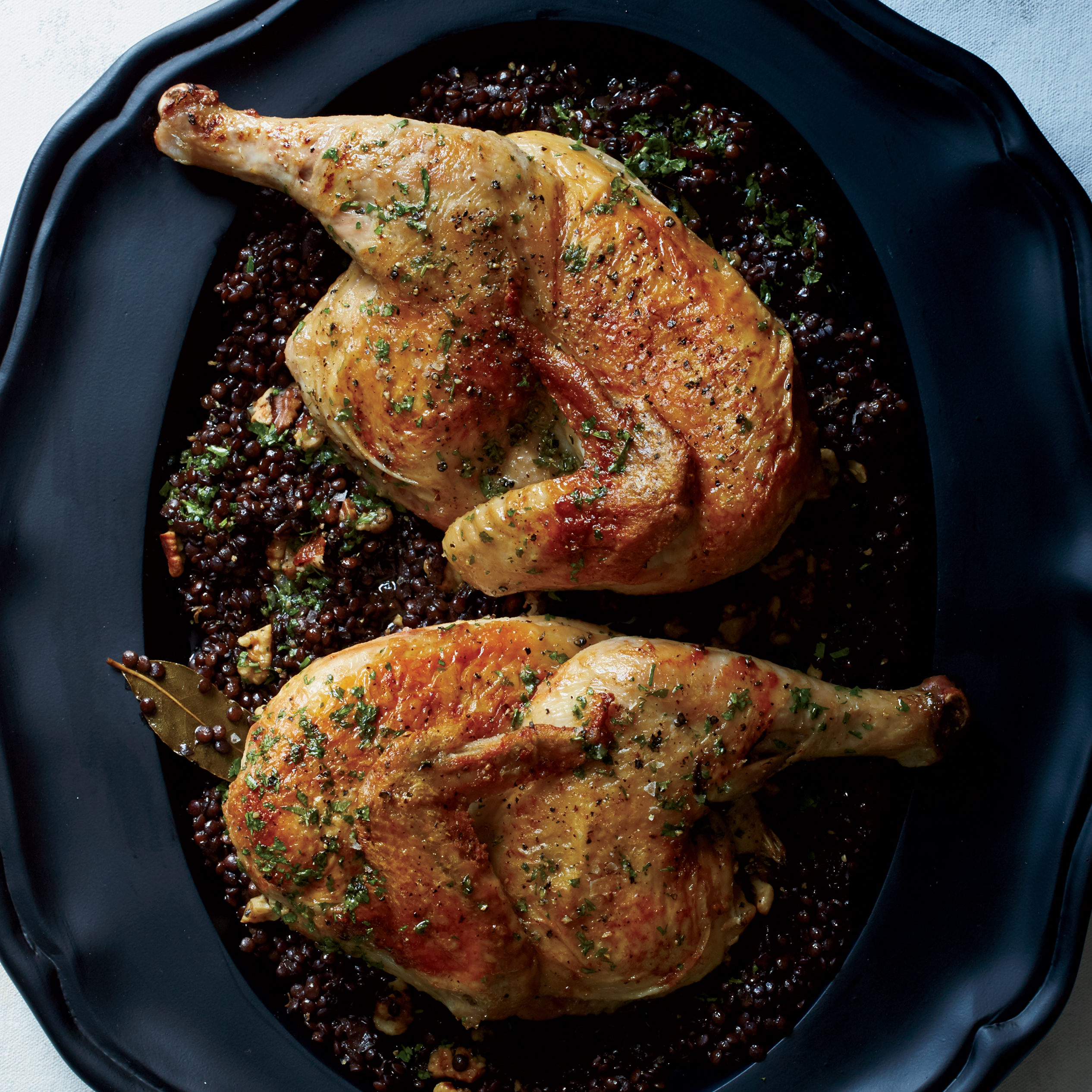 Cast-Iron Roast Chicken with Lentils and Walnut ...