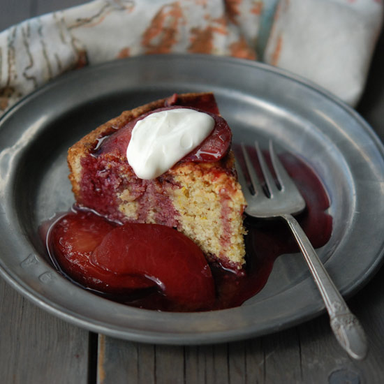 Almond and Orange Cake with Poached Plum Compote