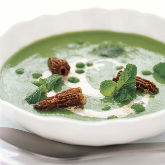 <p>Garden Pea Soup with Morel Cream</p>