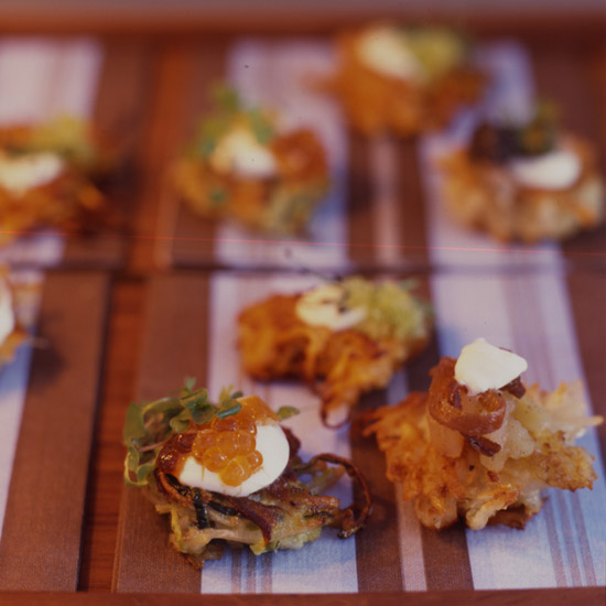 Potato Latkes with Gravlax, Crème Fraîche and Caviar