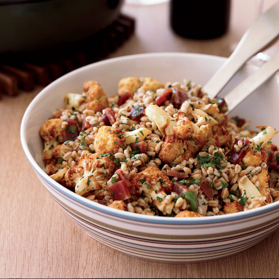 Italian food food wine farro salad with fried cauliflower and prosciutto forumfinder