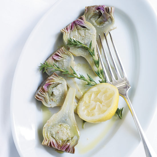 Herb-and-Lemon-Poached Baby Artichokes