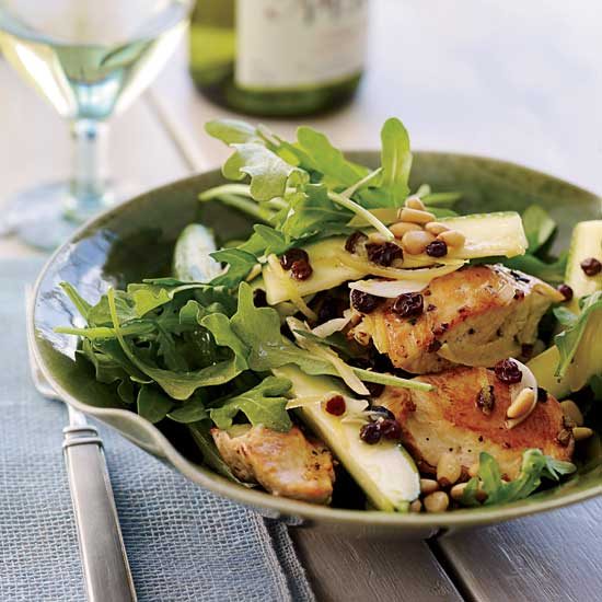 Salads with chicken food wine chicken salad with zucchini lemon and pine nuts forumfinder Images