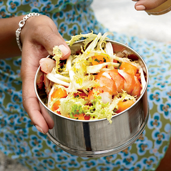 Poached Shrimp, Melon and Frisée Salad