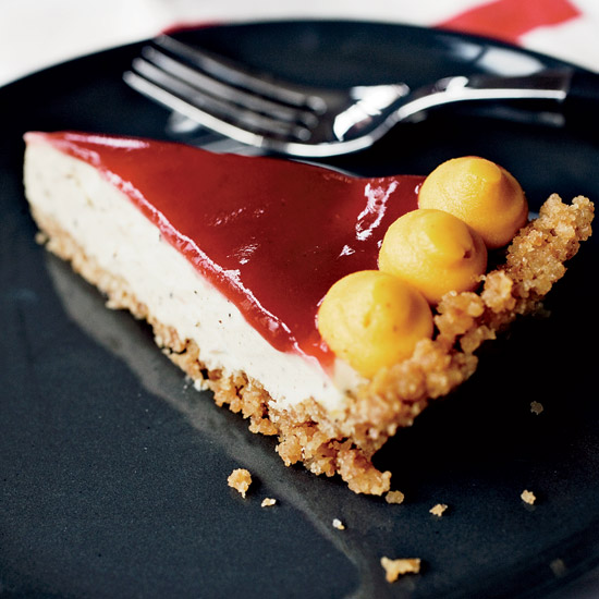 Brown Butter Custard Pie with Cranberry Glaze