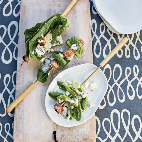 Bacon-and-Romaine Skewers with Blue Cheesae Dressing