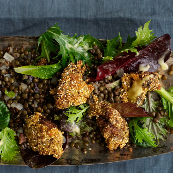 Parmesan-Polenta-Coated Chicken Livers with Lentil Salad