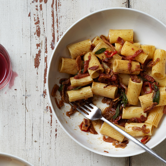 Pasta with Pancetta, Shallots and Sage