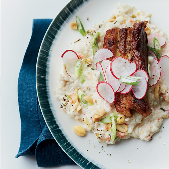 Crispy Pork Belly with Kimchi Rice Grits and Peanuts