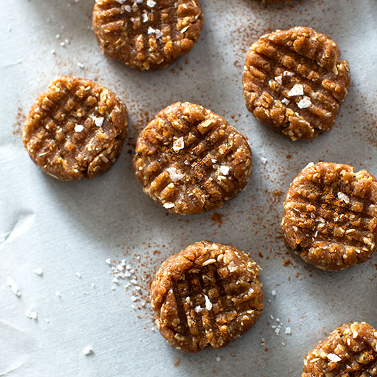 Peanut Butter-Oat Bites with Sea Salt and Cinnamon