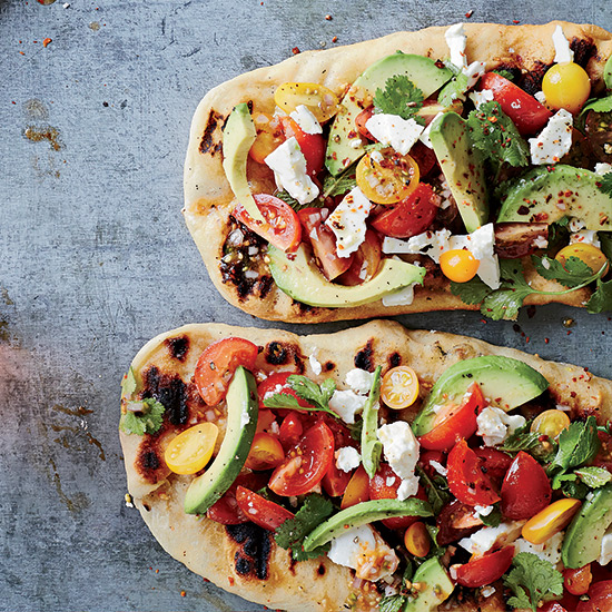 Avocado, Feta and Cherry Tomato Salsa Flatbreads