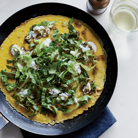Open-Face Omelets with Spicy Feta and Escarole
