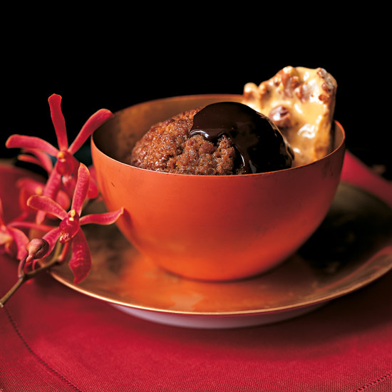 Ginger Puddings with Bittersweet Chocolate Sauce and Ginger