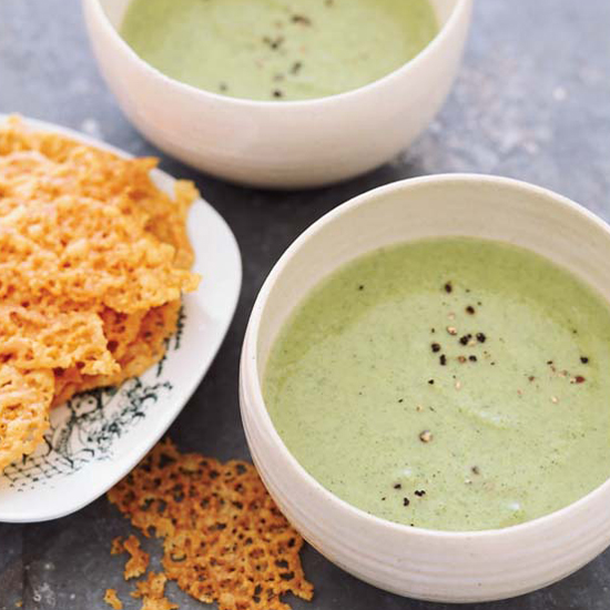 Creamy Broccoli Soup with Cheddar Crisps