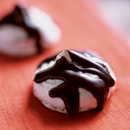 Chocolate-Glazed Hazelnut Meringues