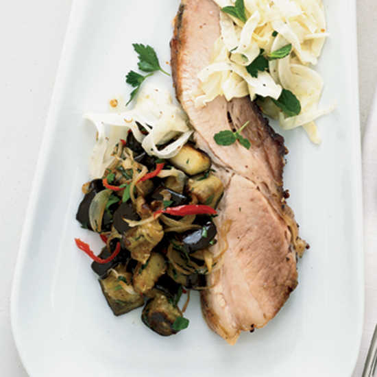 Slow-Roasted Pork Belly with Eggplant and Pickled Fennel