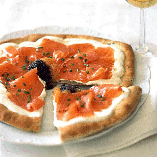 Pizza with Smoked Salmon, Crème Fraîche and Caviar