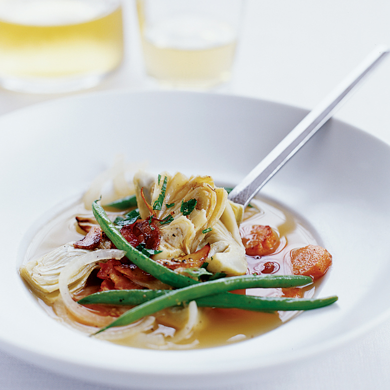 Artichokes Simmered with Green Beans and Bacon Recipe - Galen Zamarra ...