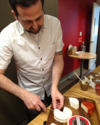 Chef Tal Ronnen and his nut milk-based cheeses at the Food & Wine test kitchen