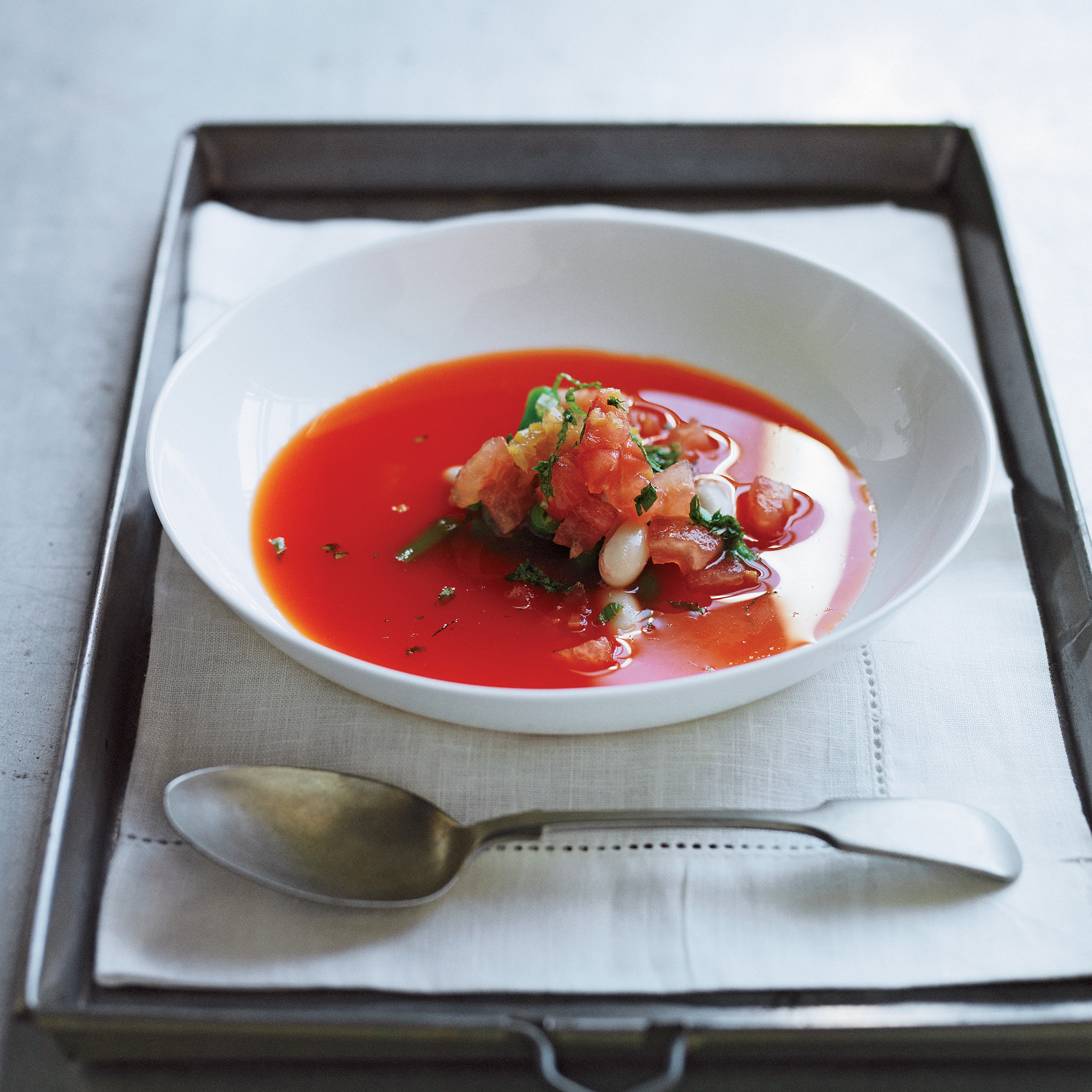 ... Soup with Fresh Bean Salad Recipe - Daniel Patterson | Food & Wine