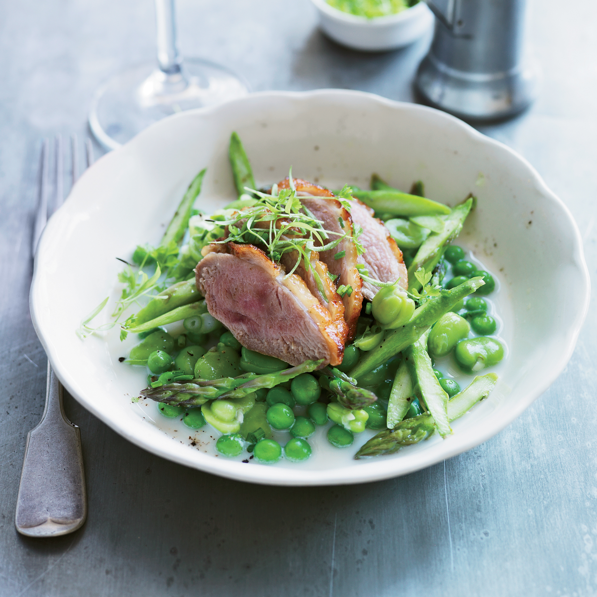 Salt-Cured Duck Breasts with Fava Beans & Sweet Peas Recipe - Anne ...