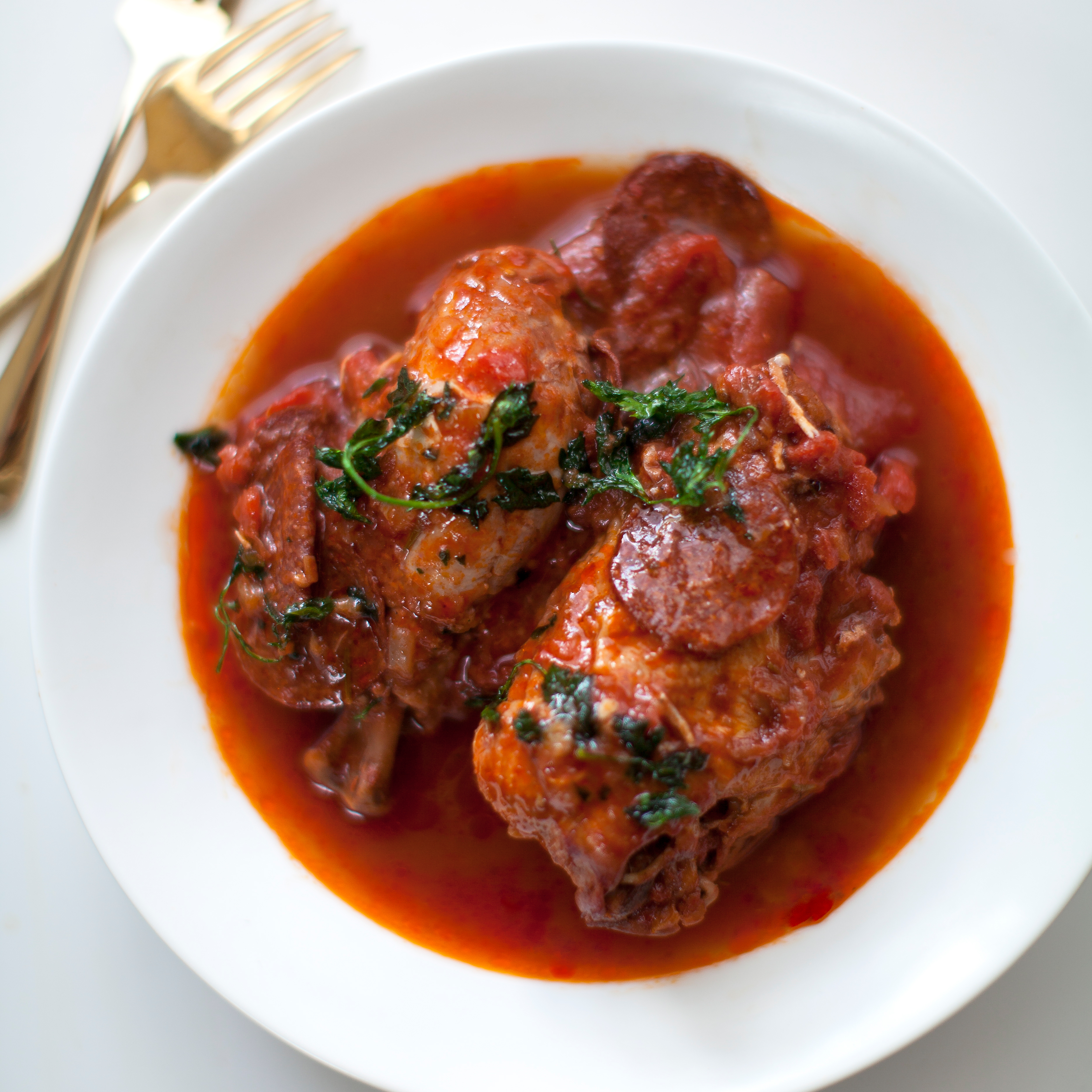 Pepperoni-Braised Chicken with Fried Herbs Recipe - Sarah ...
