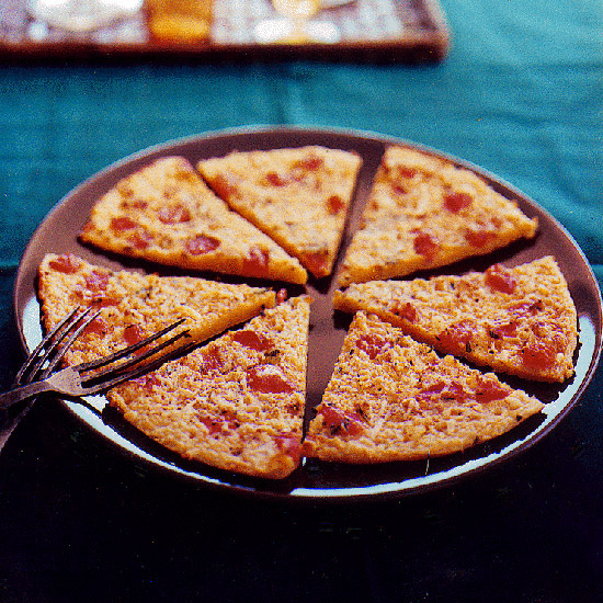 Chickpea Flour Pizza with Tomato and Parmesan