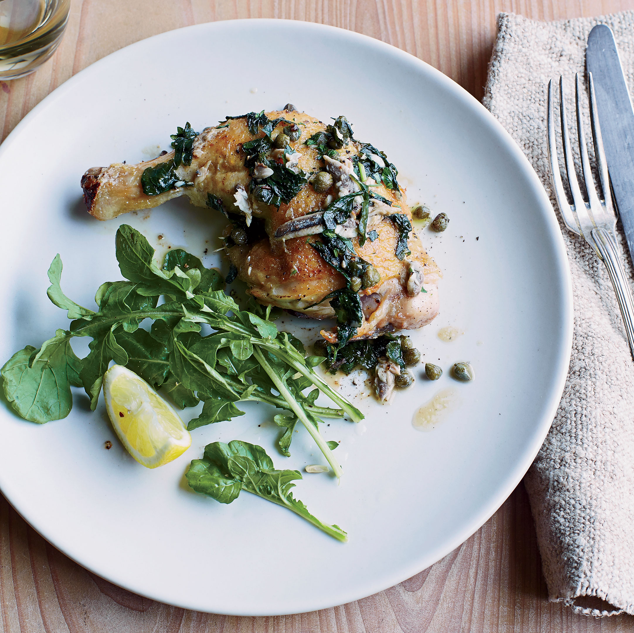 Crisp Pan Roasted Chicken With Anchovies Capers And Lemon