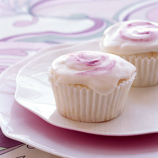 Angel Food Cupcakes with Raspberry Swirl