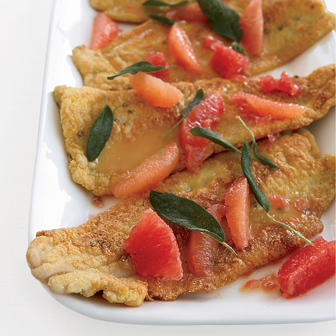Cornmeal fried trout with grapefruit and fried sage recipe for Cornmeal fried fish