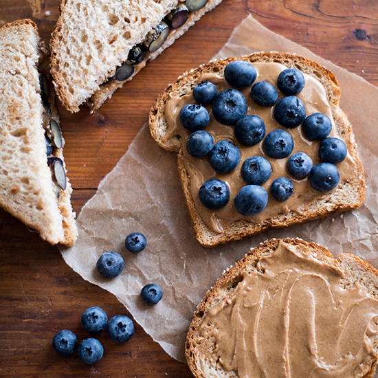 FWX 5 SIMPLE SWEET RECIPES ALMOND BUTTER FRESH BLUEBERRY SANDWICH