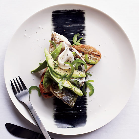 FWX GRILLED MACKEREL WITH LARDO AVOCADO AND JALAPENO ON TOAST